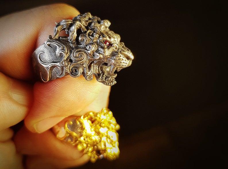 anillo león - lion ring