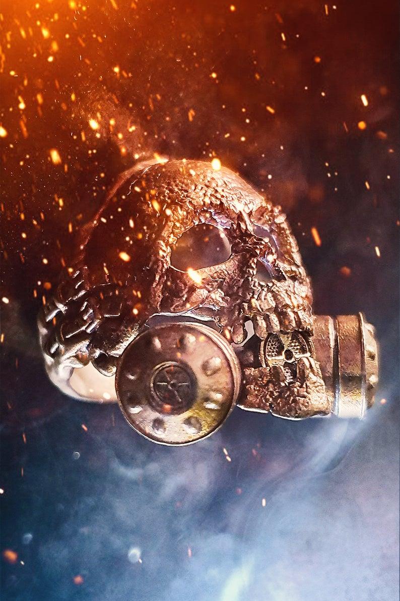 industrial skull ring